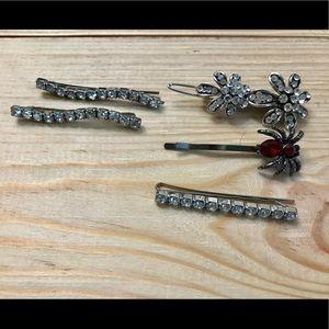 Vintage rhinestone spider flower hair clips bundle